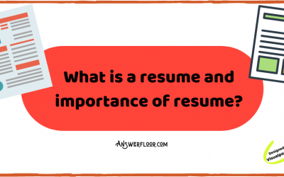 What is a resume and importance of resume?